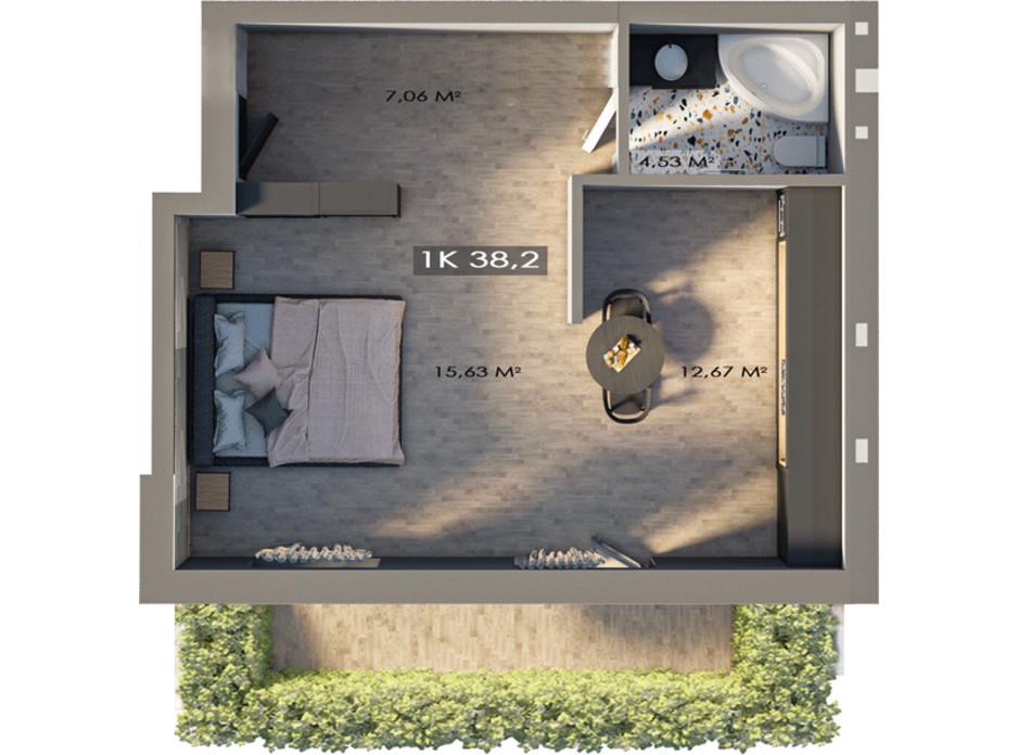Планировка 1-комнатной квартиры в ЖК Клубный городок 12 34.5 м², фото 217404