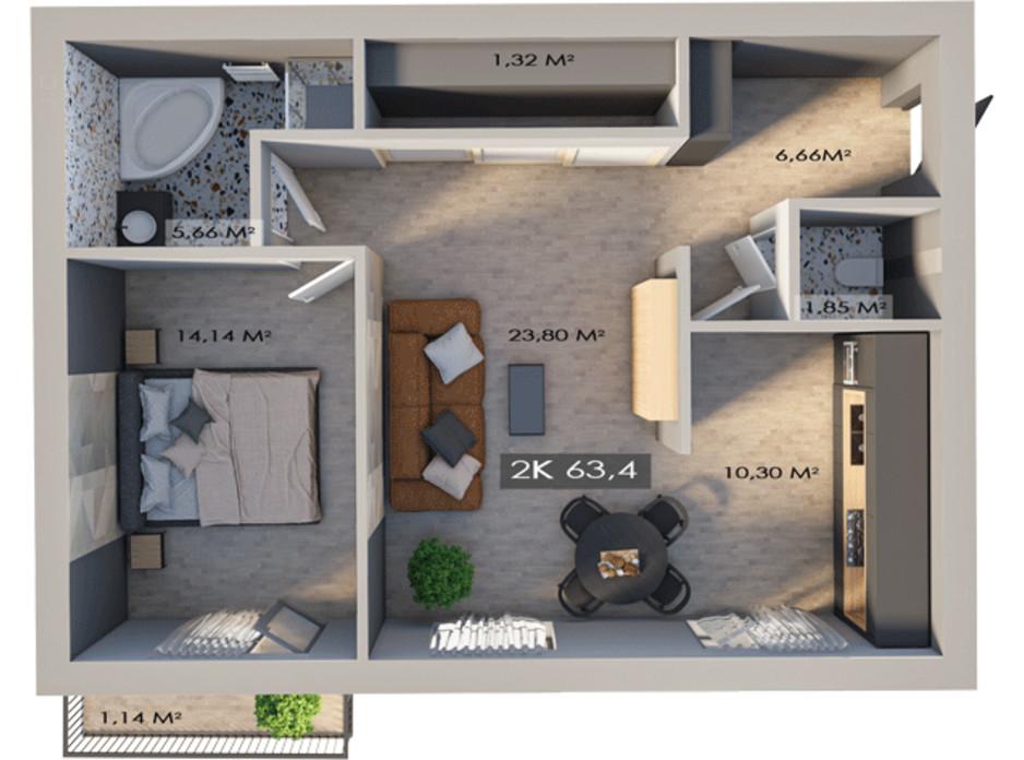 Планировка 2-комнатной квартиры в ЖК Клубный городок 12 63.4 м², фото 217412