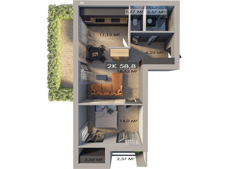 Планировка 2-комнатной квартиры в ЖК Клубный городок 12 58.8 м², фото 217431