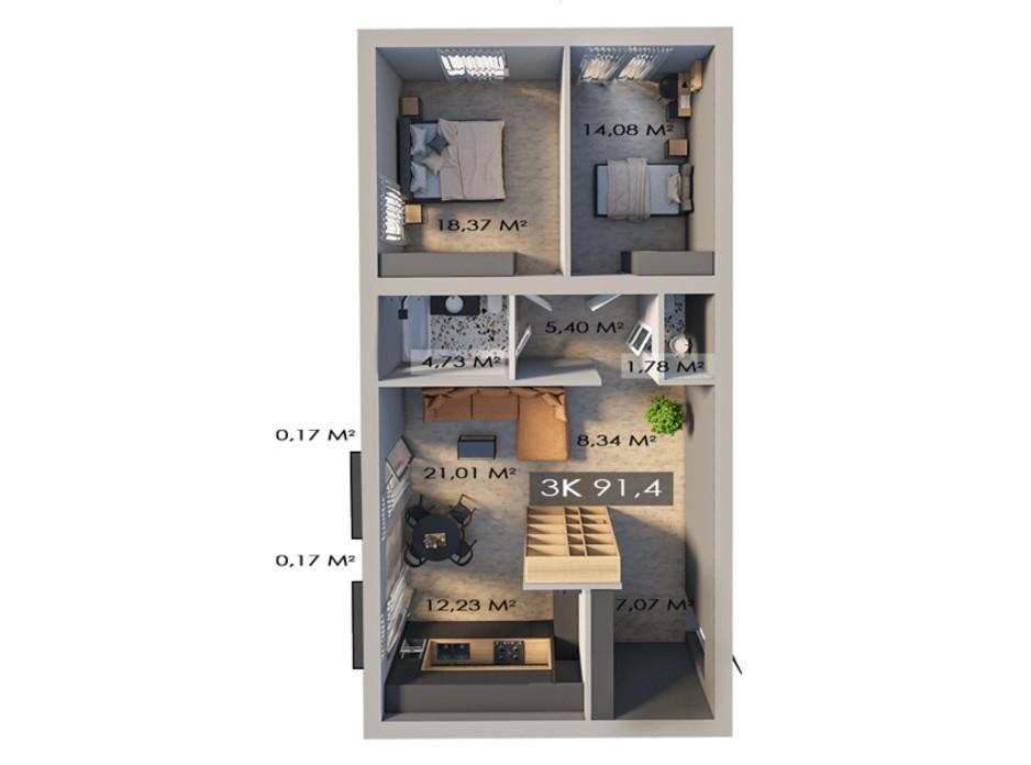 Планировка 3-комнатной квартиры в ЖК Клубный городок 12 91.4 м², фото 217439
