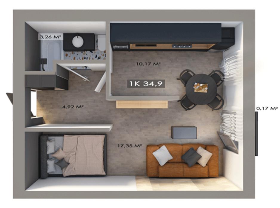 Планировка 1-комнатной квартиры в ЖК Клубный городок 12 34.9 м², фото 217442
