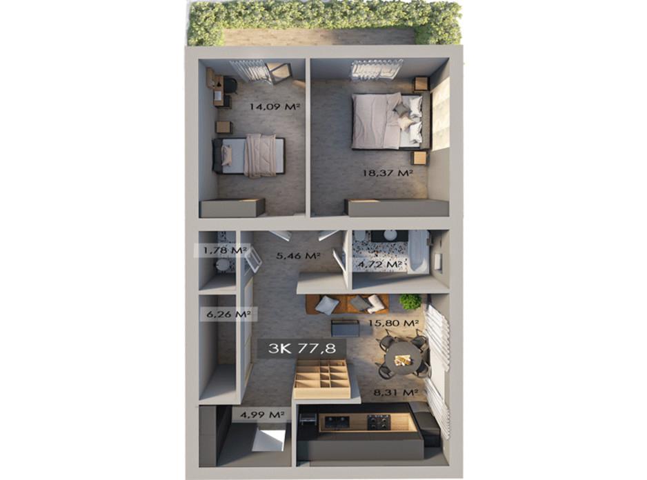 Планировка 3-комнатной квартиры в ЖК Клубный городок 12 78 м², фото 217451
