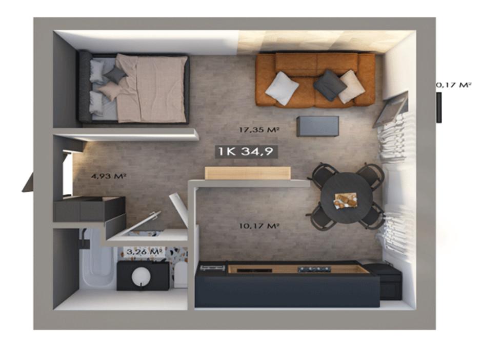 Планировка 1-комнатной квартиры в ЖК Клубный городок 12 34.9 м², фото 217462