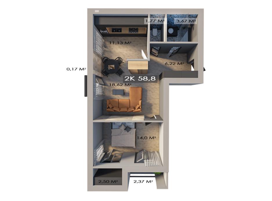 Планування 2-кімнатної квартири в ЖК Клубне містечко 12 58.8 м², фото 217469