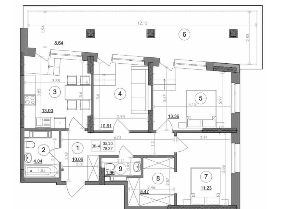 Планування 3-кімнатної квартири в ЖК Svitlo Park 78.37 м², фото 217494