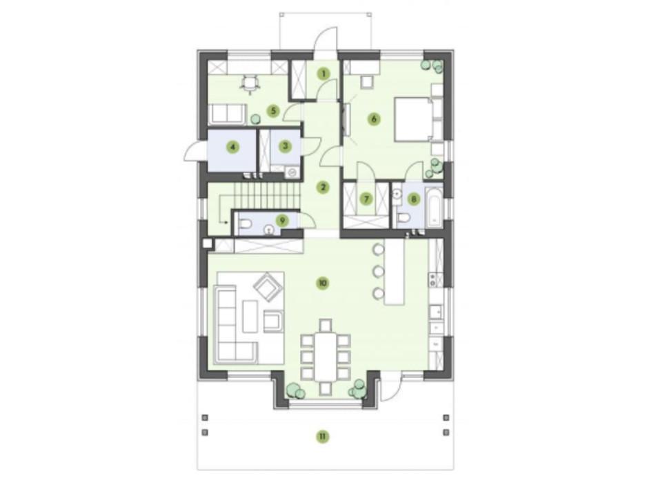 Планировка коттеджа в КГ Рославичи 186.5 м², фото 217530