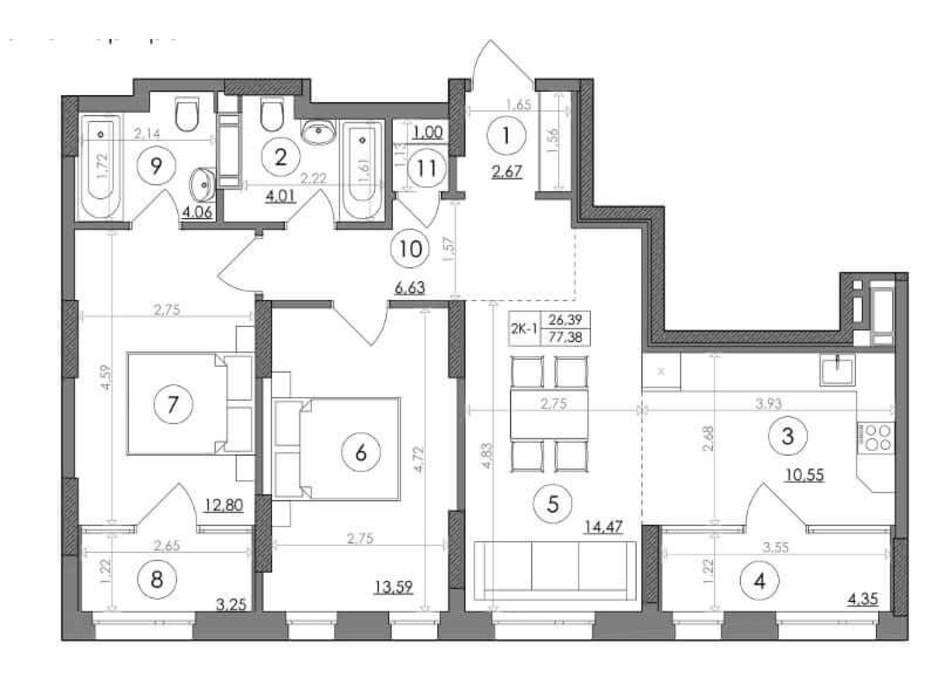 Планування 2-кімнатної квартири в ЖК Svitlo Park 77.38 м², фото 217533