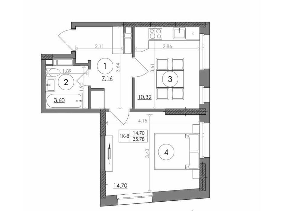 Планування 1-кімнатної квартири в ЖК Svitlo Park 35.78 м², фото 217544