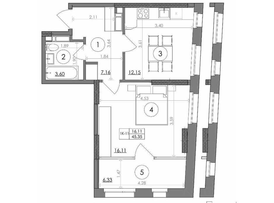 Планування 1-кімнатної квартири в ЖК Svitlo Park (Світло Парк) 45.35 м², фото 217547