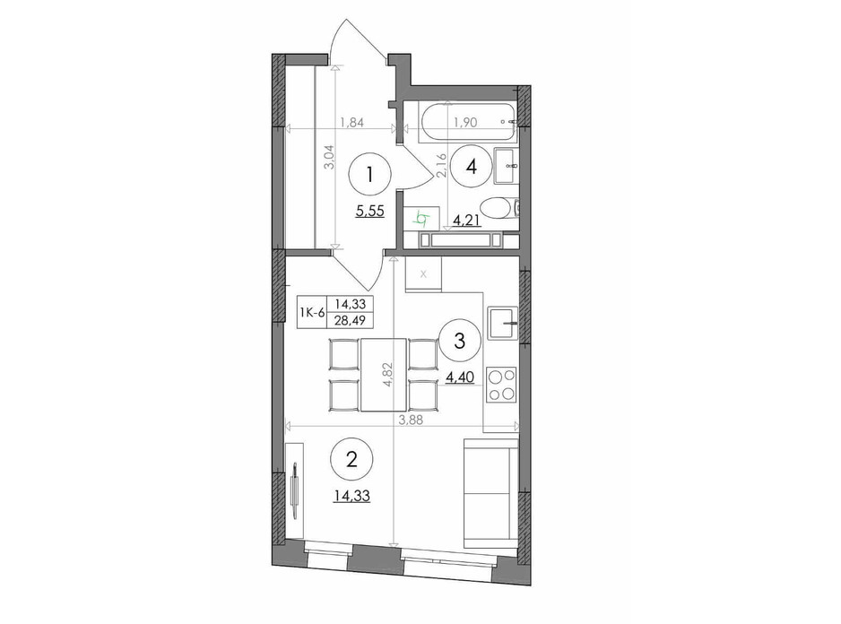 Планировка смарт квартиры в ЖК Svitlo Park 28.49 м², фото 217548