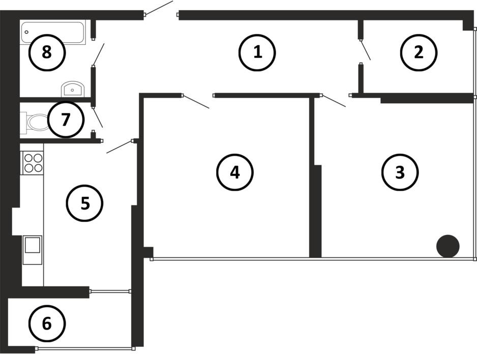 Планування 2-кімнатної квартири в ЖК Національний 87 м², фото 217921