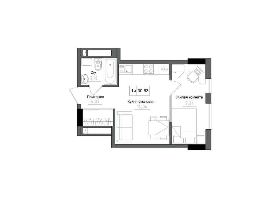 Планування 1-кімнатної квартири в ЖК Artville 30.63 м², фото 218916