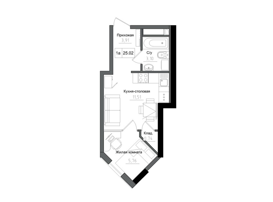 Планування 1-кімнатної квартири в ЖК Artville 25.02 м², фото 218920