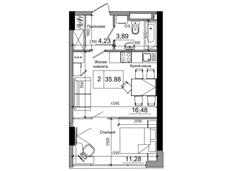 Планування 1-кімнатної квартири в ЖК Artville 35.88 м², фото 218934