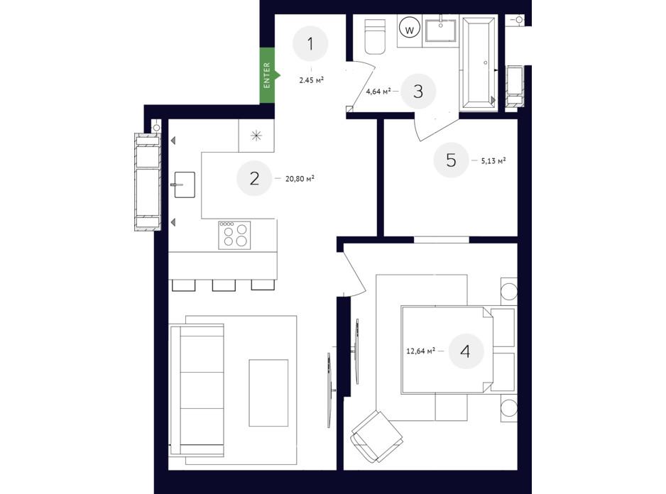 Планування багаторівневої квартири в ЖК White Lines 113.43 м², фото 219349