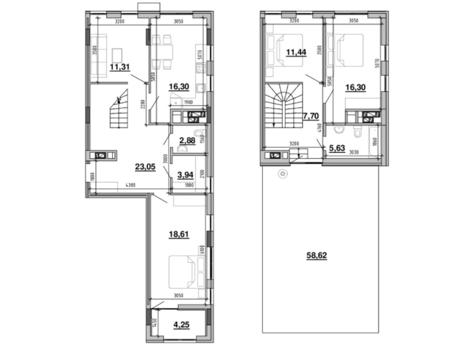Планировка многоуровневой квартиры в ЖК Містечко Підзамче 138.99 м², фото 219386
