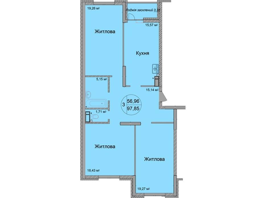 Планування 3-кімнатної квартири в ЖК Святобор 96.72 м², фото 219590