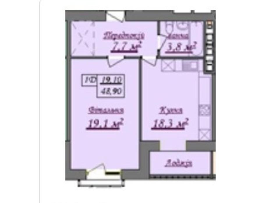 Планування 1-кімнатної квартири в ЖК Містечко Козацьке 44.8 м², фото 219651