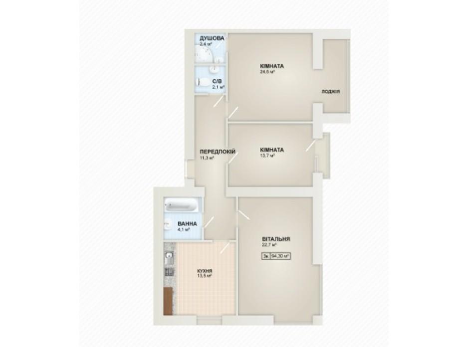 Планування 3-кімнатної квартири в ЖК Містечко Козацьке 94.3 м², фото 219652