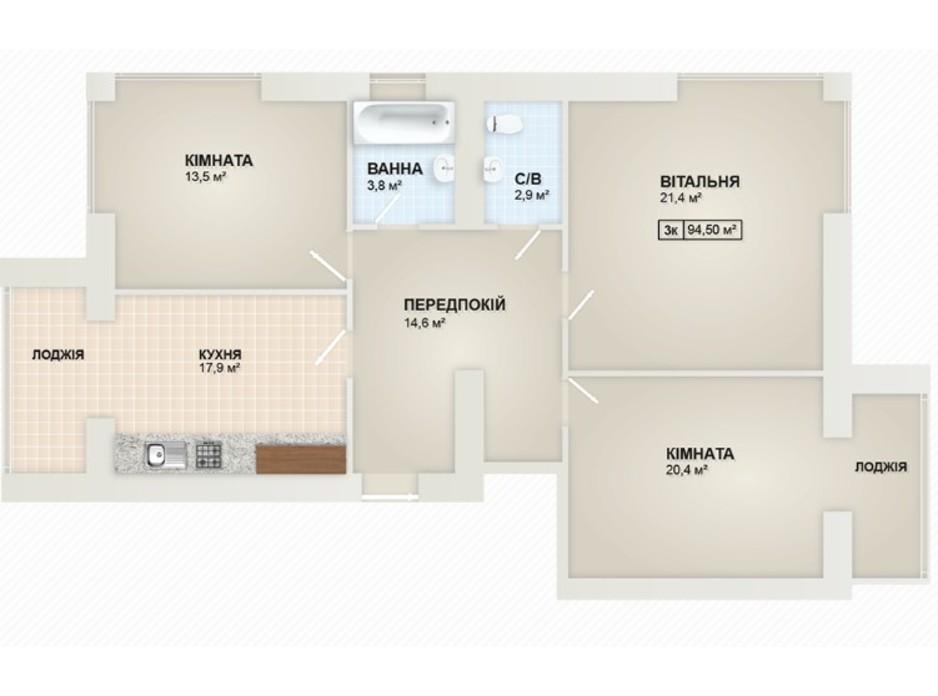 Планування 3-кімнатної квартири в ЖК Містечко Козацьке 92.91 м², фото 219653