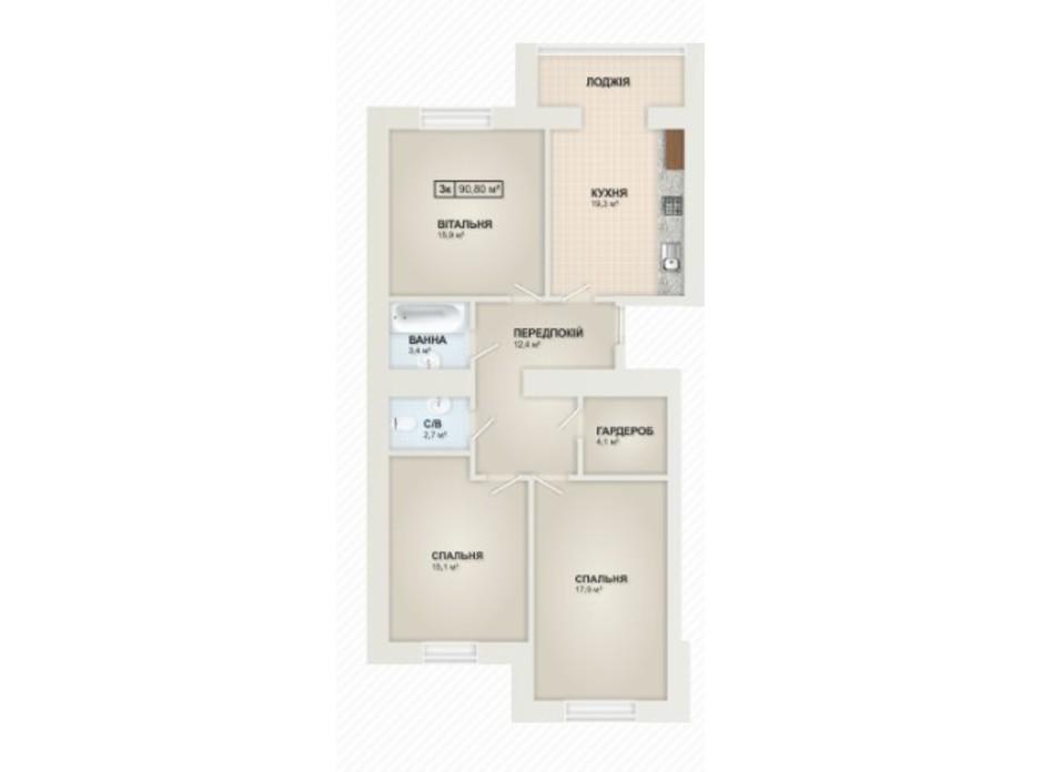 Планування 3-кімнатної квартири в ЖК Містечко Козацьке 90.8 м², фото 219654