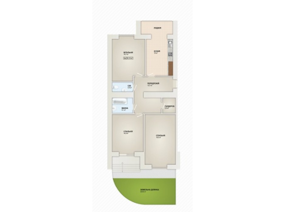 Планування 3-кімнатної квартири в ЖК Містечко Козацьке 92.1 м², фото 219658