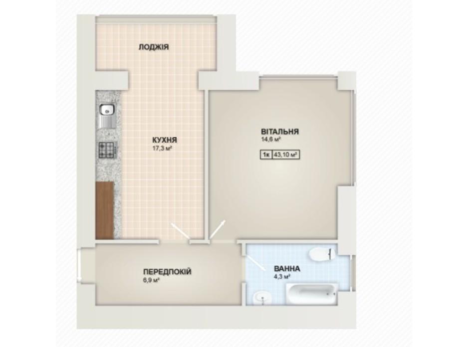 Планування 1-кімнатної квартири в ЖК Містечко Козацьке 43.1 м², фото 219659