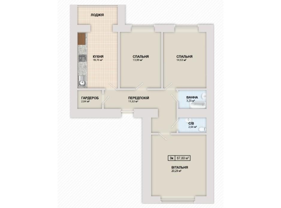 Планування 3-кімнатної квартири в ЖК Містечко Козацьке 87.8 м², фото 219662