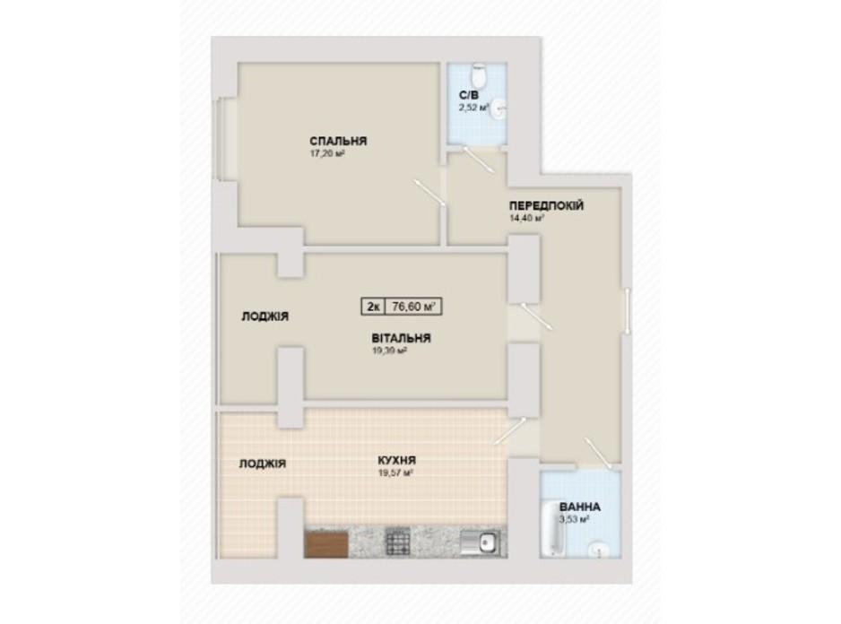 Планування 2-кімнатної квартири в ЖК Містечко Козацьке 76.6 м², фото 219663