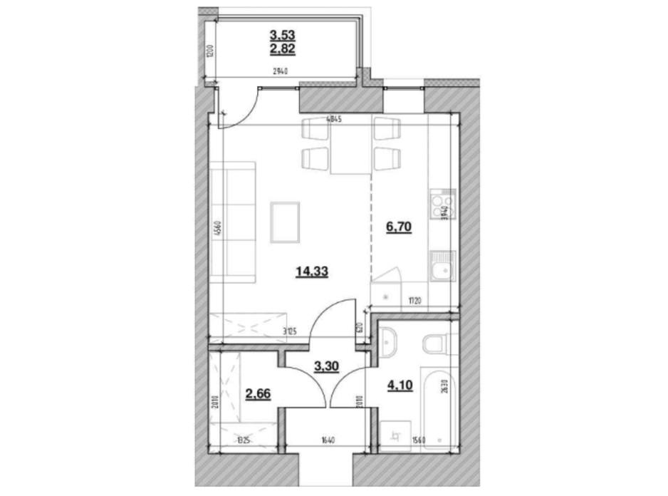 Планировка 1-комнатной квартиры в ЖК Шенген 33.91 м², фото 219751