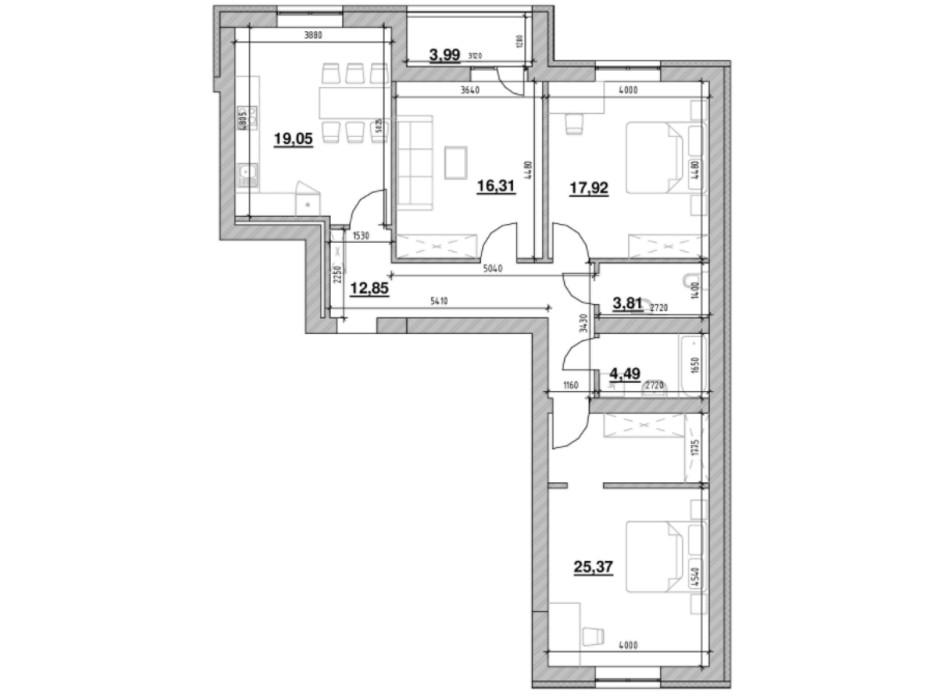 Планування 3-кімнатної квартири в ЖК Шенген 103.79 м², фото 219853
