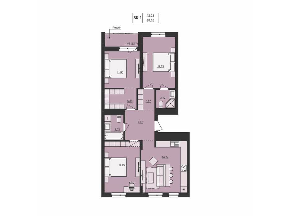 Планировка 3-комнатной квартиры в ЖК Mill town 88.66 м², фото 219942