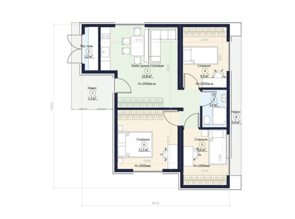 Планування котеджу в КМ Нова Конча-Заспа Crystal 65 м², фото 220073