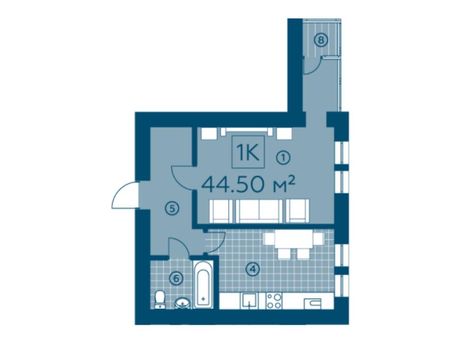 Планування 1-кімнатної квартири в ЖК Київський 43.66 м², фото 220136
