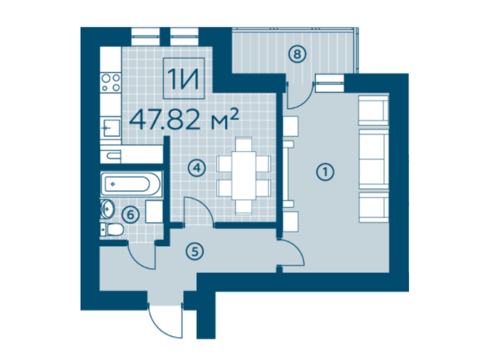 Планування 1-кімнатної квартири в ЖК Київський 46.13 м², фото 220137