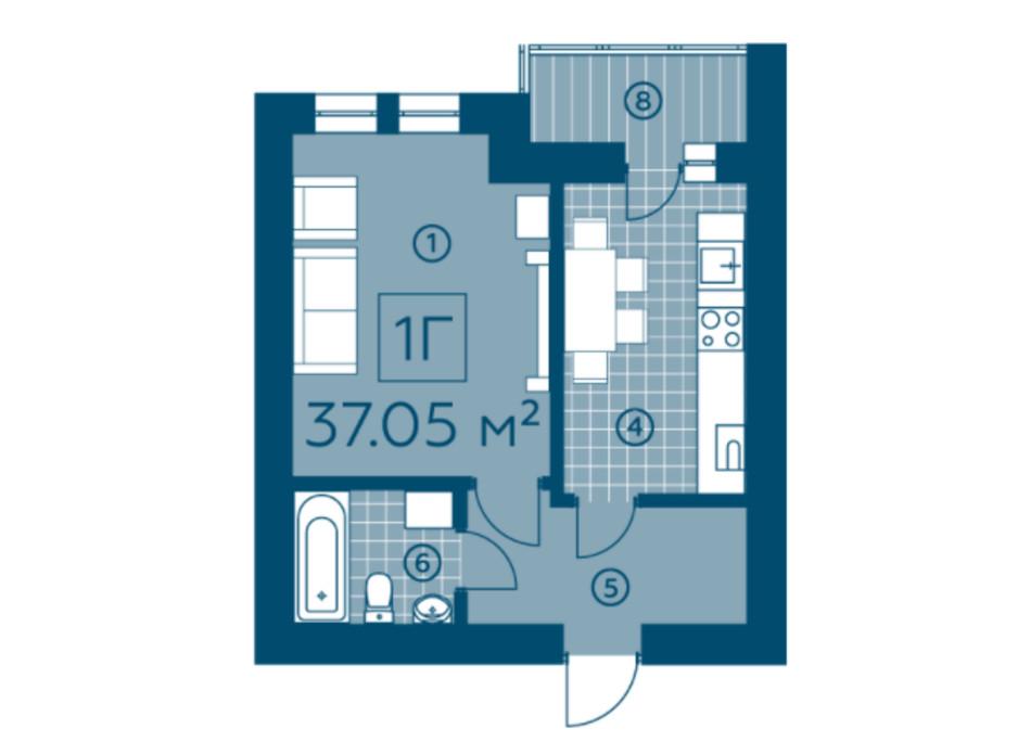 Планування 1-кімнатної квартири в ЖК Київський 37.05 м², фото 220140