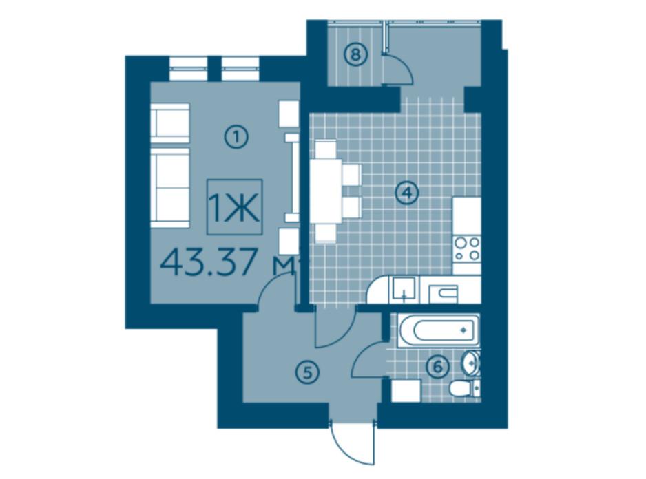 Планування 1-кімнатної квартири в ЖК Київський 43.37 м², фото 220146