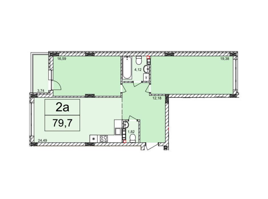 Планування 2-кімнатної квартири в ЖК Білий Шоколад 79.7 м², фото 220167