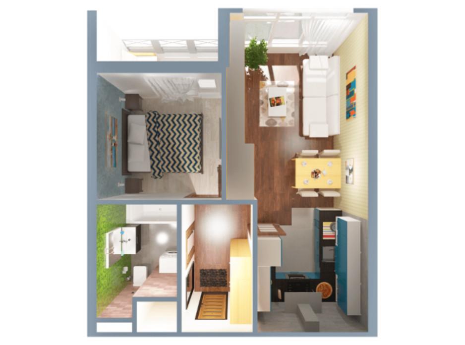 Планировка 1-комнатной квартиры в ЖК А12 на Симоненко 34 м², фото 220342