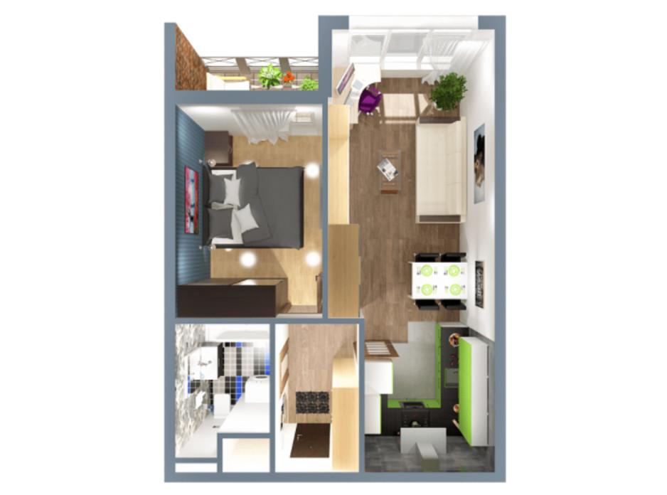 Планировка 1-комнатной квартиры в ЖК А12 на Симоненко 40 м², фото 220343