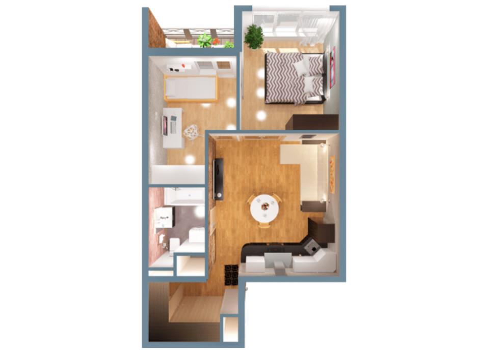 Планировка 2-комнатной квартиры в ЖК А12 на Симоненко 45 м², фото 220344
