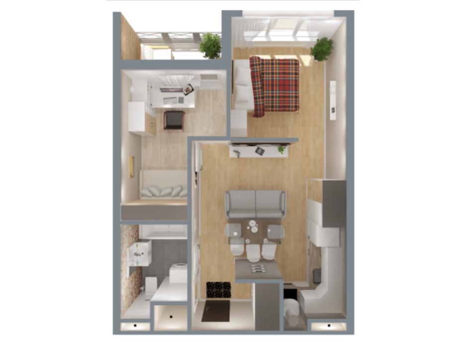Планировка 2-комнатной квартиры в ЖК А12 на Симоненко 47 м², фото 220345