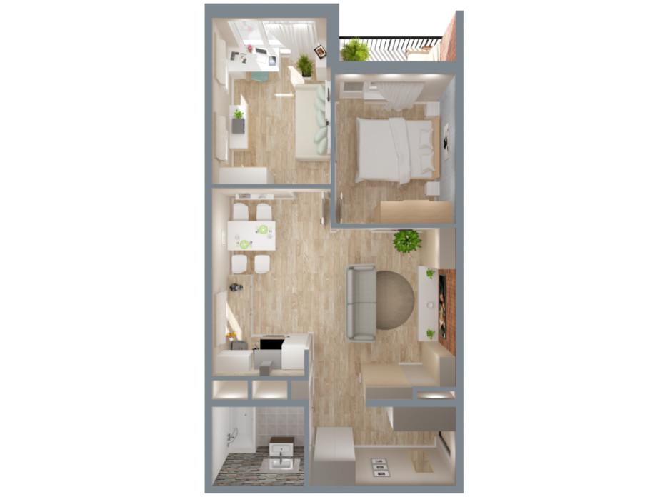 Планировка 2-комнатной квартиры в ЖК А12 на Симоненко 59 м², фото 220346
