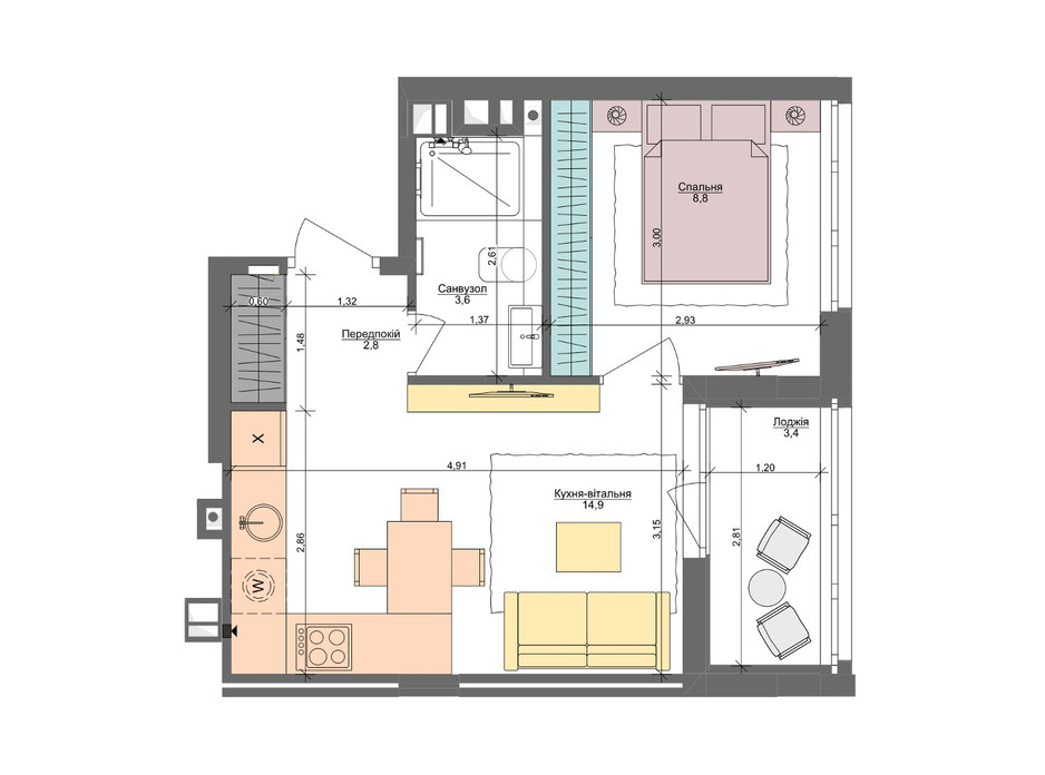 Планировка 1-комнатной квартиры в ЖК Файна Таун 33.5 м², фото 220891