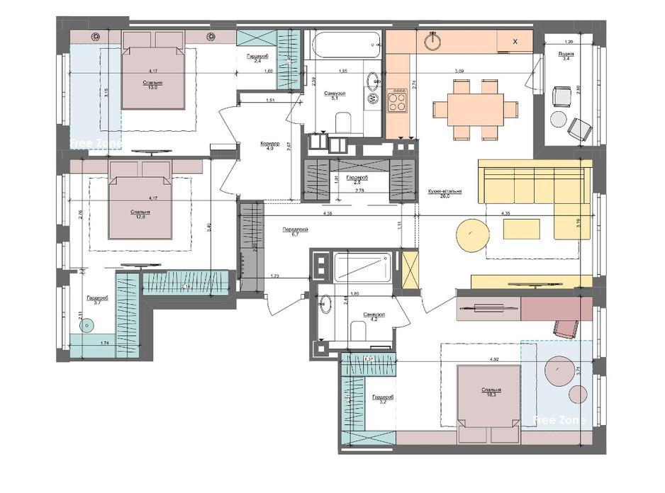 Планировка 3-комнатной квартиры в ЖК Файна Таун 105.6 м², фото 220892