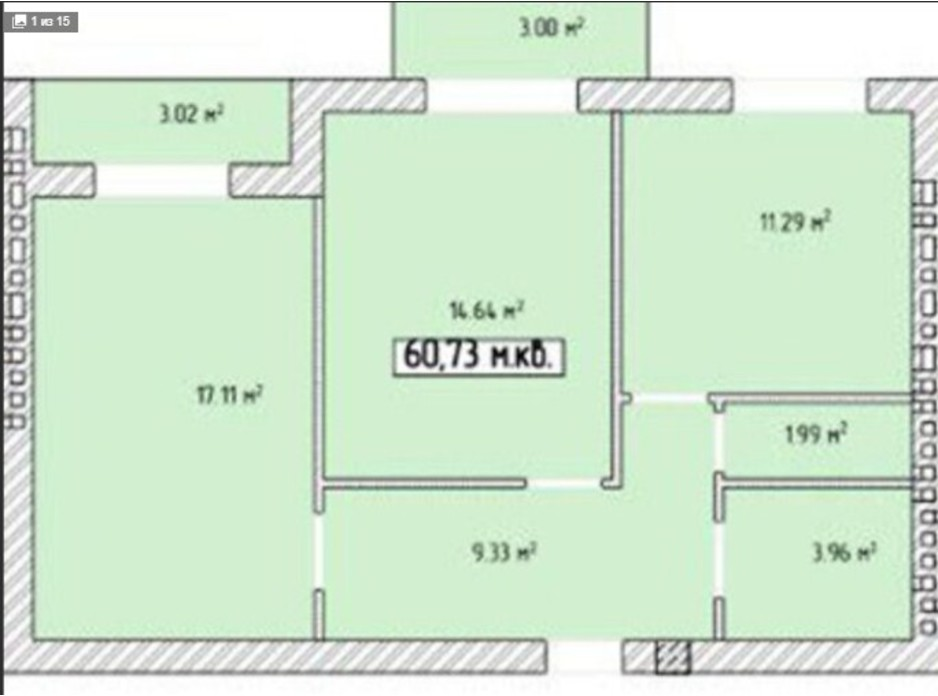 Планировка 2-комнатной квартиры в ЖК Тетрис 61 м², фото 221215