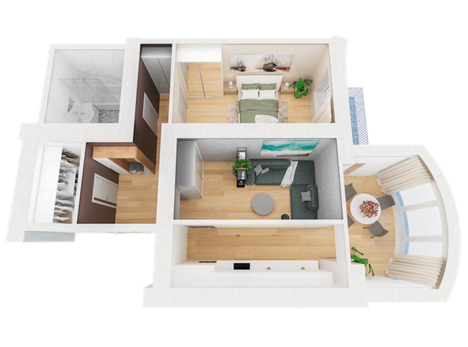 Планировка 2-комнатной квартиры в ЖК Ривьера 69.01 м², фото 221594