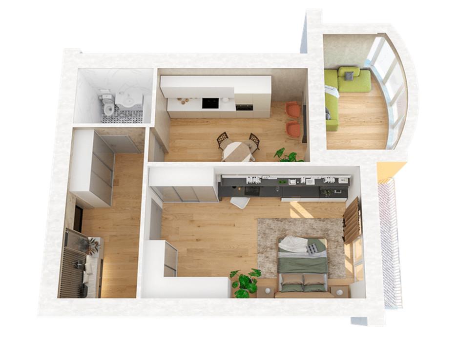 Планировка 1-комнатной квартиры в ЖК Ривьера 67.89 м², фото 221596