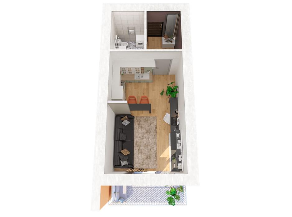 Планування 1-кімнатної квартири в ЖК Рів'єра 33 м², фото 221597