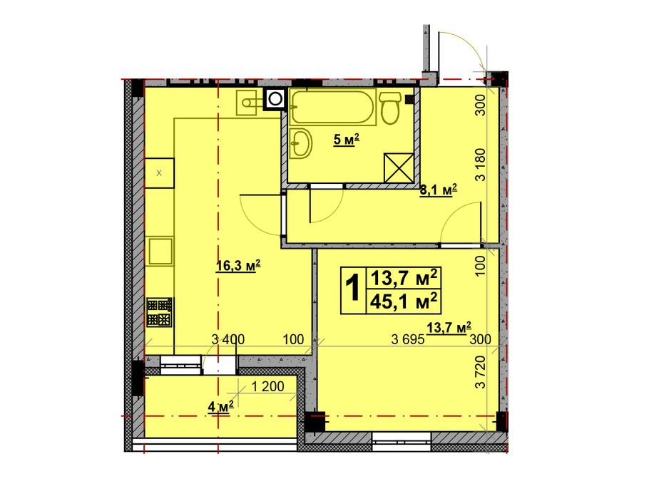 Планировка 1-комнатной квартиры в ЖК Vlasna 45.1 м², фото 221729